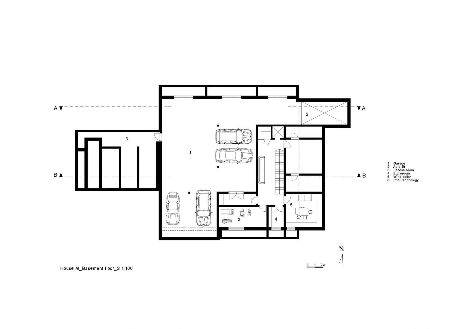 Basement Floor Plan - House M Luxury Residence - Merano, South Tyrol, Italy