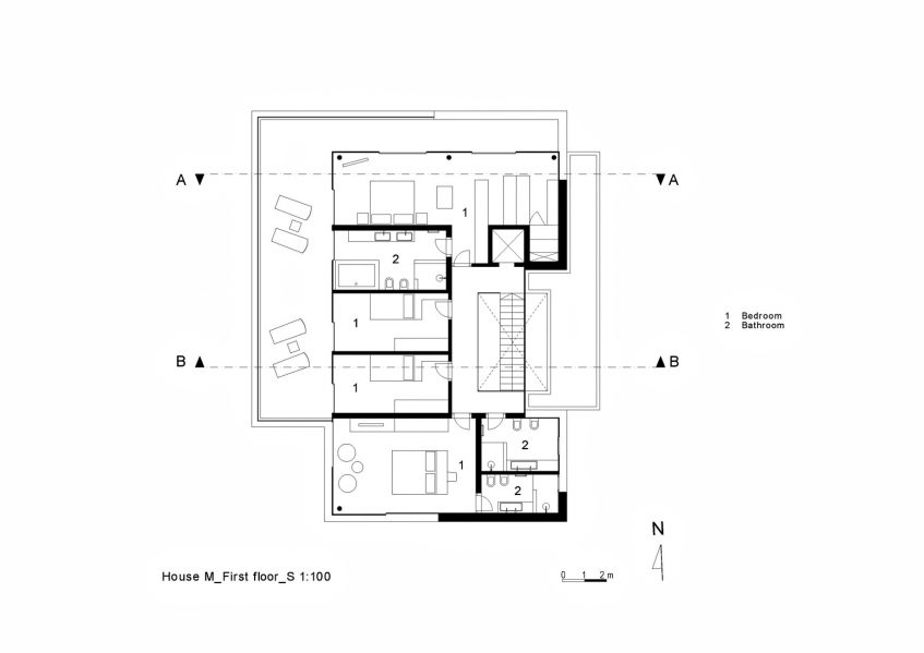 First Floor Plan - House M Luxury Residence - Merano, South Tyrol, Italy