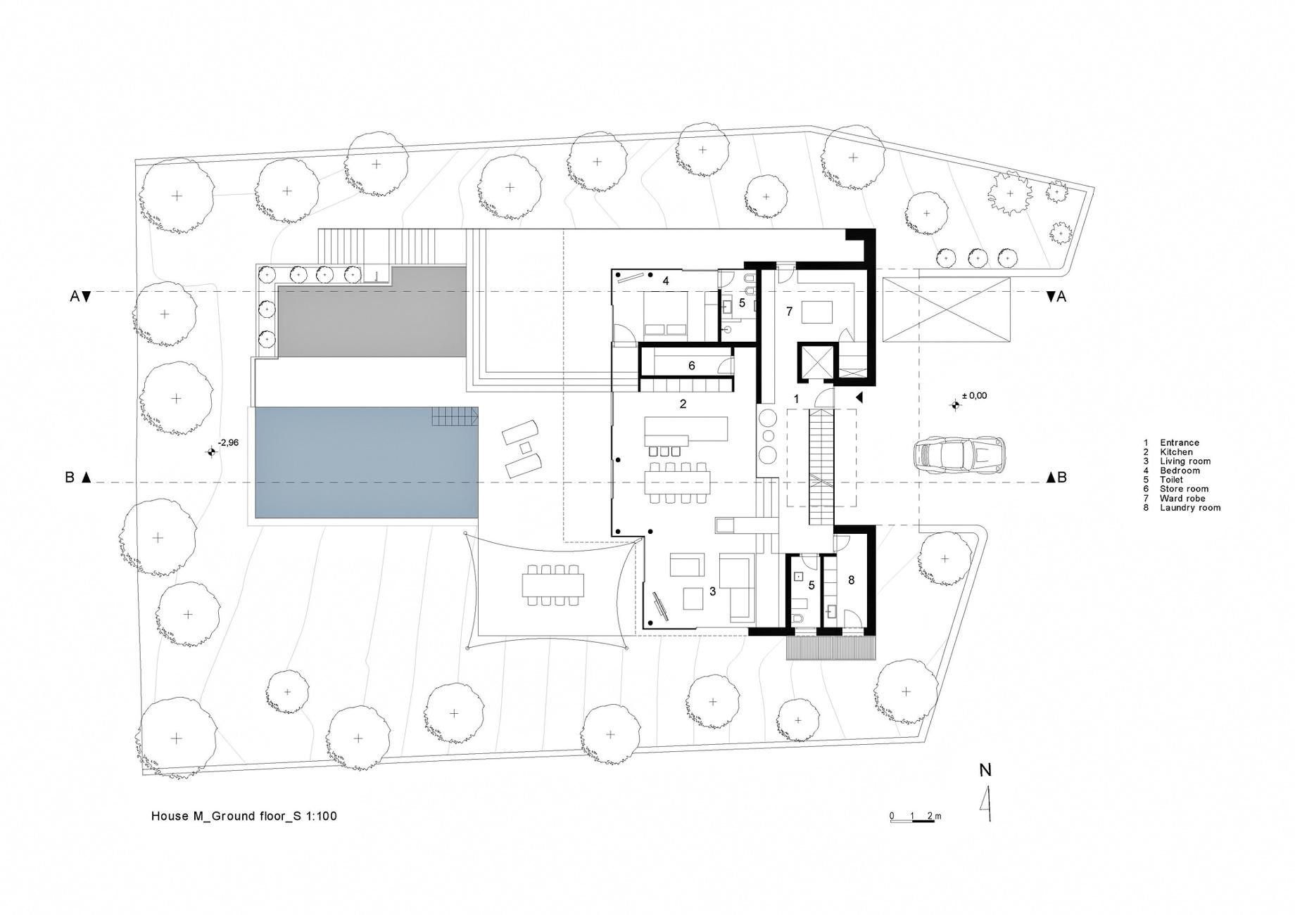 Ground Floor Plan – House M Luxury Residence – Merano, South Tyrol, Italy