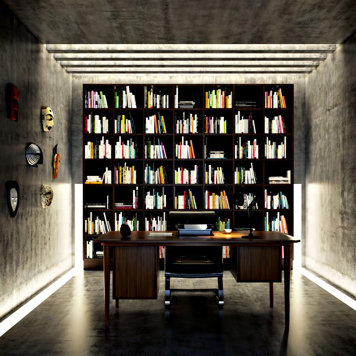 Writer's Room - Ex Machina Film Inspires Architecture for a Writer's Modern Concrete Home Design