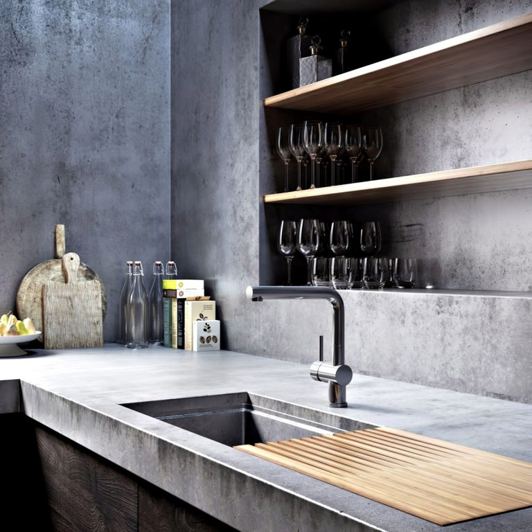 Kitchen - Ex Machina Film Inspires Architecture for a Writer's Modern Concrete Home Design