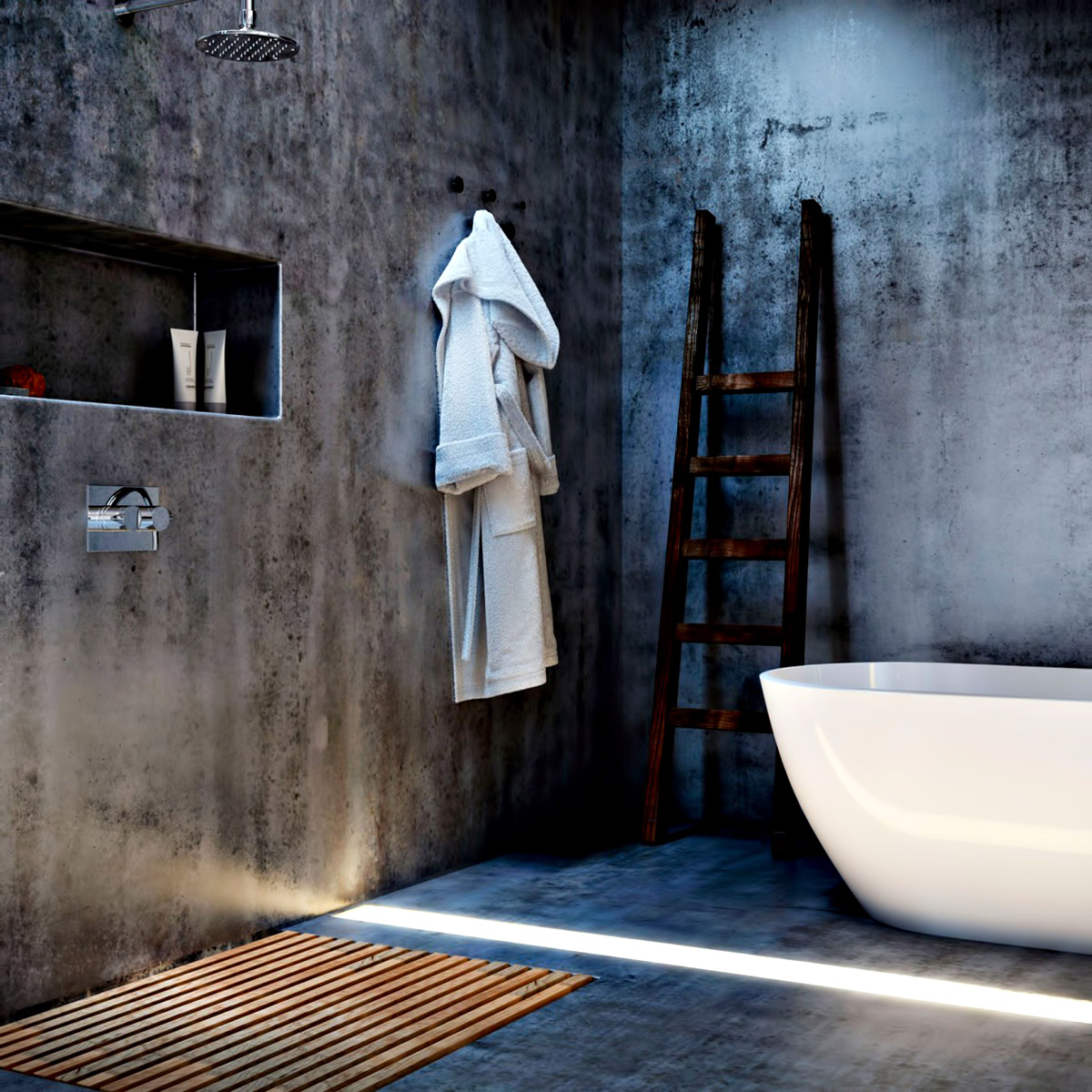 Bathroom   Ex Machina Film Inspires Architecture For A Writeru0027s Modern Concrete  Home Design