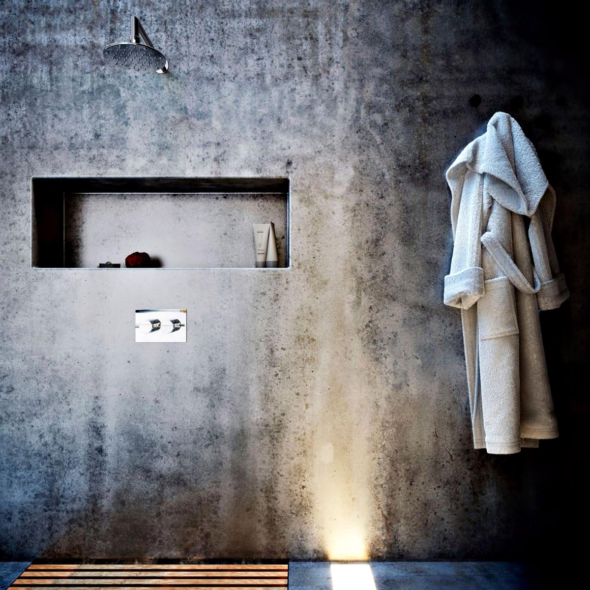 Bathroom - Ex Machina Film Inspires Architecture for a Writer's Modern Concrete Home Design