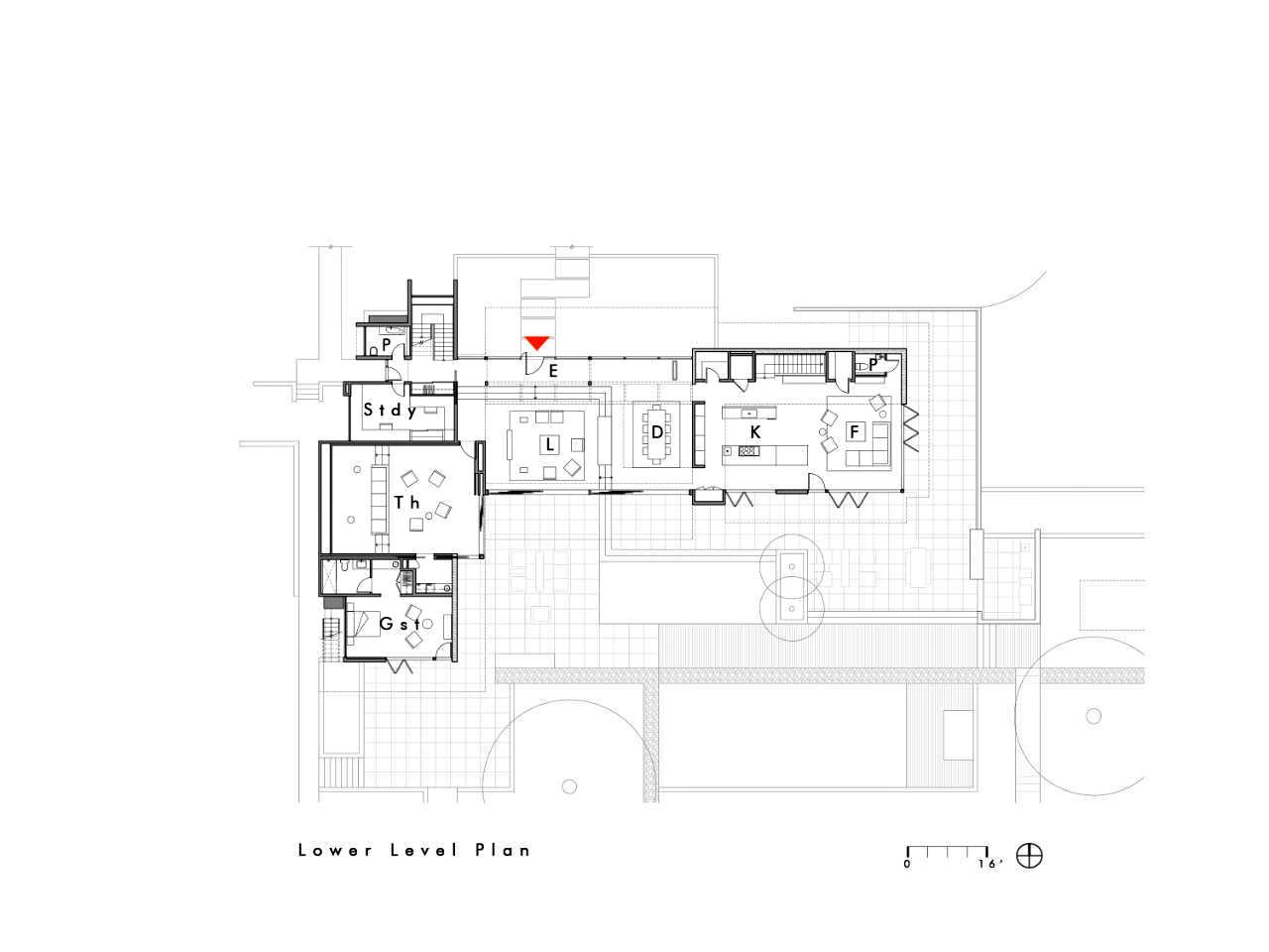 Lower Level Floor Plan – Modern Luxury OZ Residence – 92 Sutherland Drive, Atherton, CA, USA