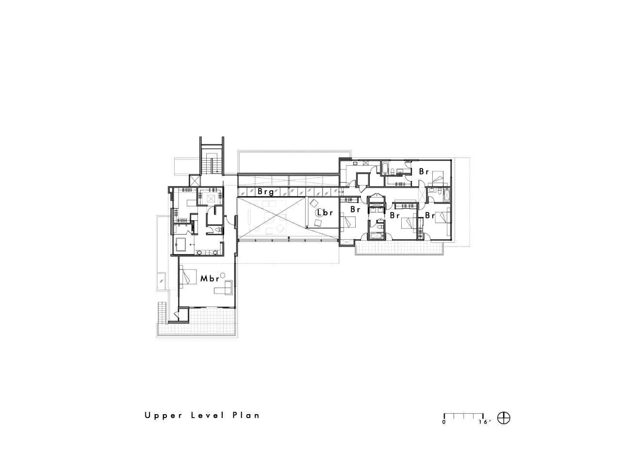 Upper Level Floor Plan – Modern Luxury OZ Residence – 92 Sutherland Drive, Atherton, CA, USA