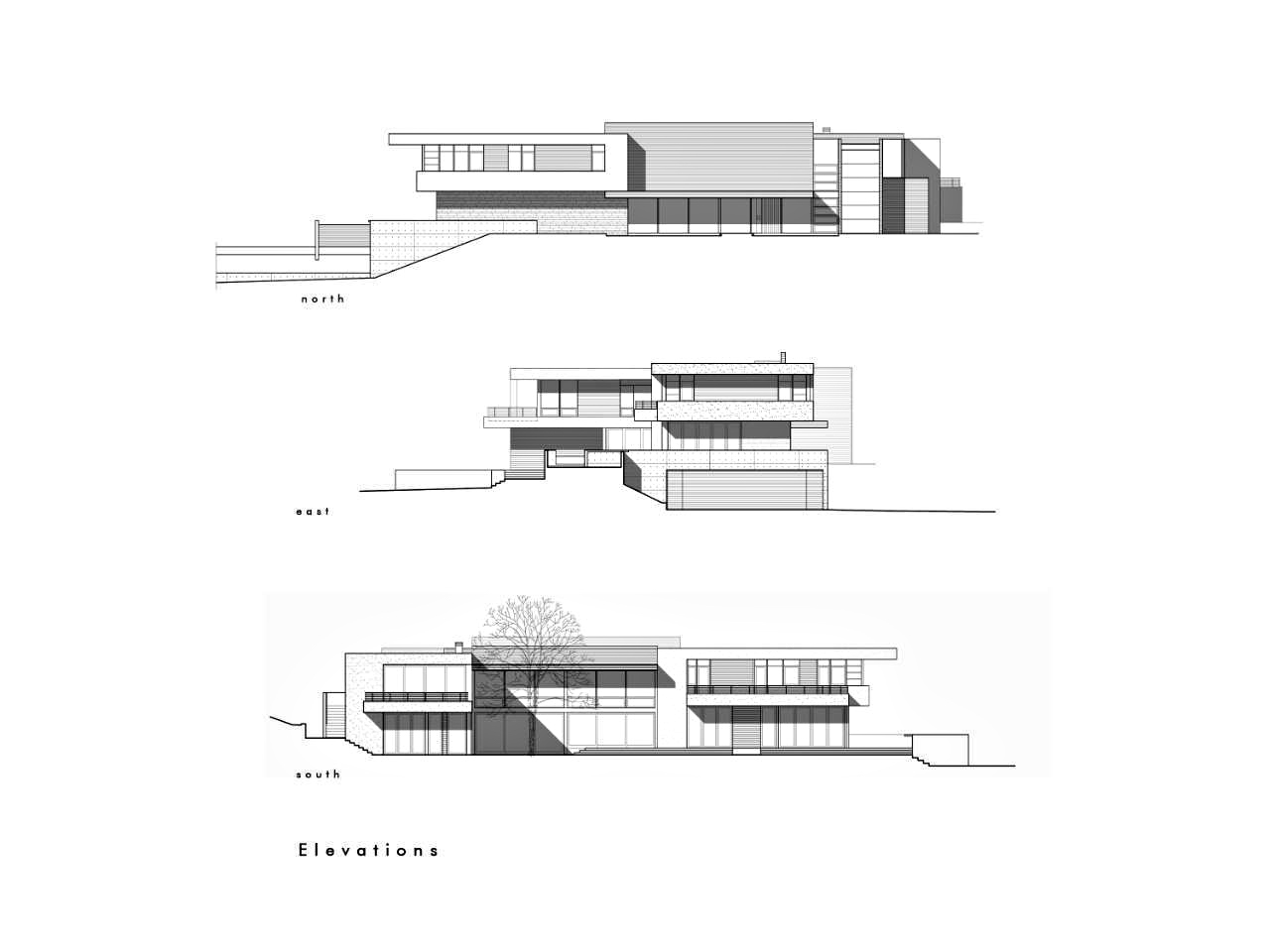 Elevations – Modern Luxury OZ Residence – 92 Sutherland Drive, Atherton, CA, USA