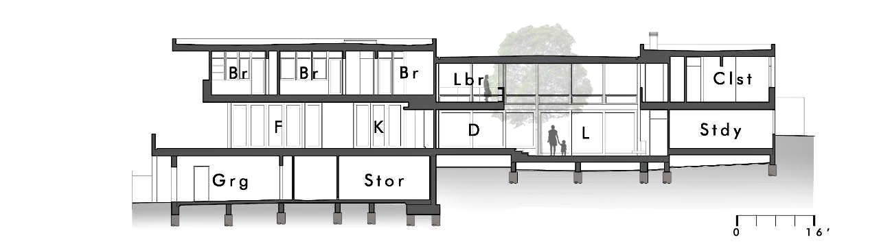 Section – Modern Luxury OZ Residence – 92 Sutherland Drive, Atherton, CA, USA