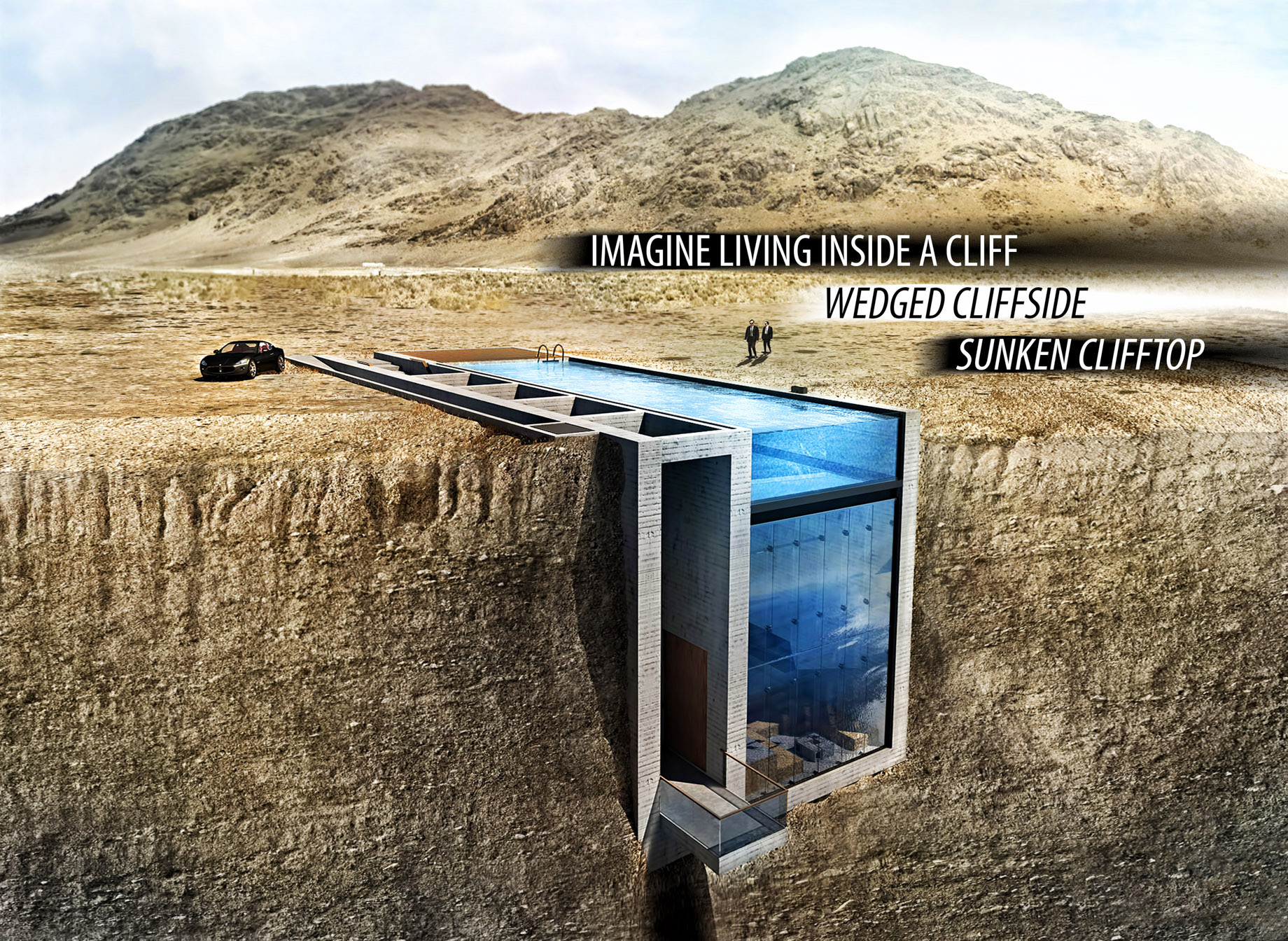 Imagine Living Inside a Cliff - Luxury Home Wedged Cliffside, Sunken Clifftop