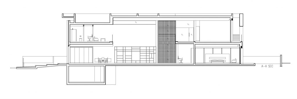 Section - Contemporary Bauhaus Luxury Residence - French Carmel, Haifa, Israel