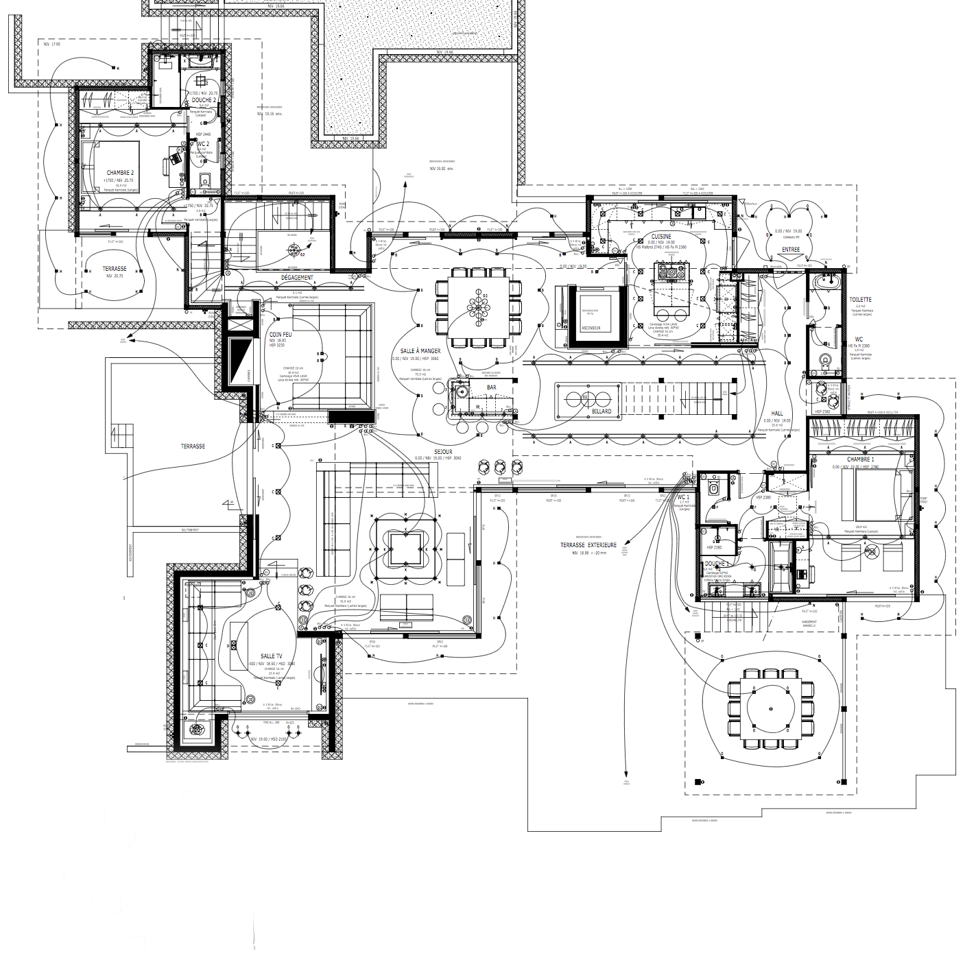 Floor Plans – Cala Rossa Luxury Villa – Porto-Vecchio, Corsica, France