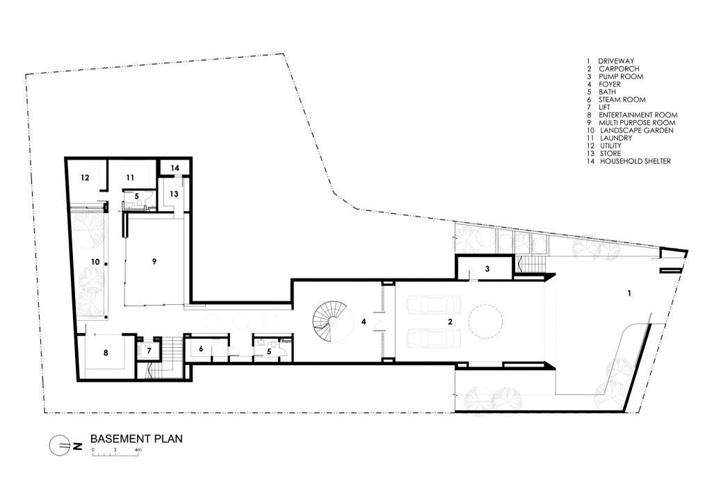 Basement Floor Plan - Secret Garden House Luxury Residence - Bukit Timah, Singapore