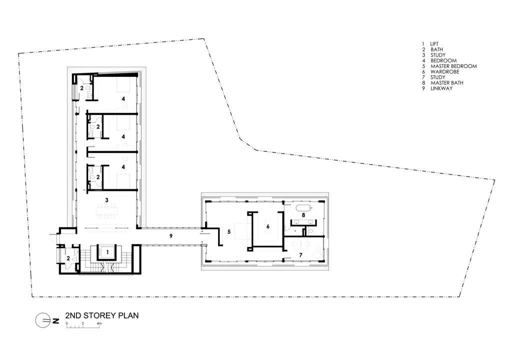 Second Storey Floor Plan - Secret Garden House Luxury Residence - Bukit Timah, Singapore