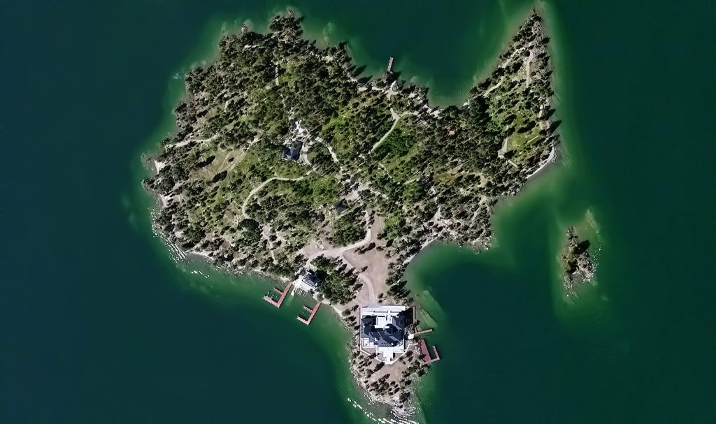 Aerial - Shelter Island Private Estate - Flathead Lake, Rollins, MT, USA