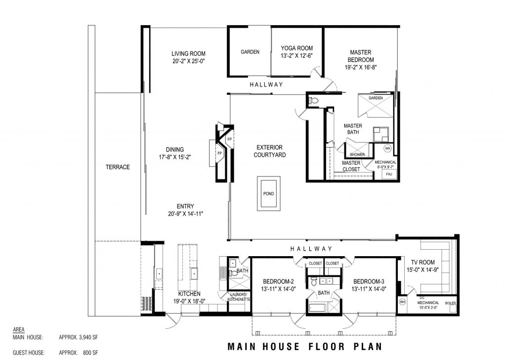 Main House Floor Plan - Toro Canyon House - 3660 Toro Canyon Park Rd, Montecito, CA, USA