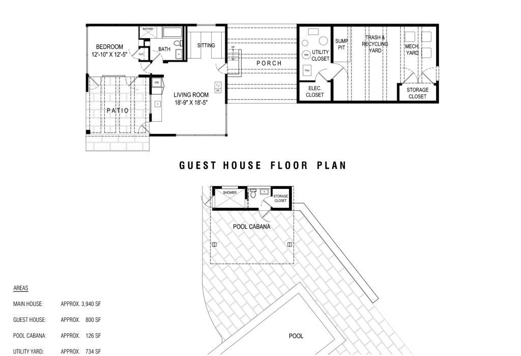 Guest House Floor Plan - Toro Canyon House - 3660 Toro Canyon Park Rd, Montecito, CA, USA