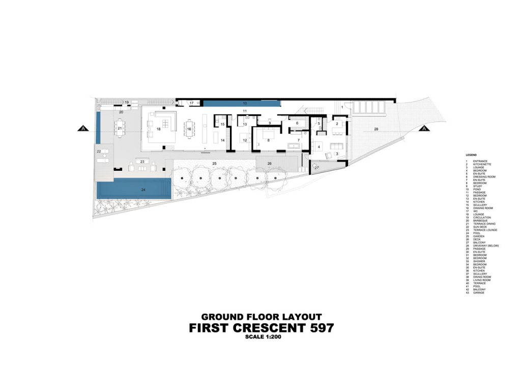 Ground Floor Plan - Bond Luxury Villa - 8 First Crescent, Camps Bay, South Africa