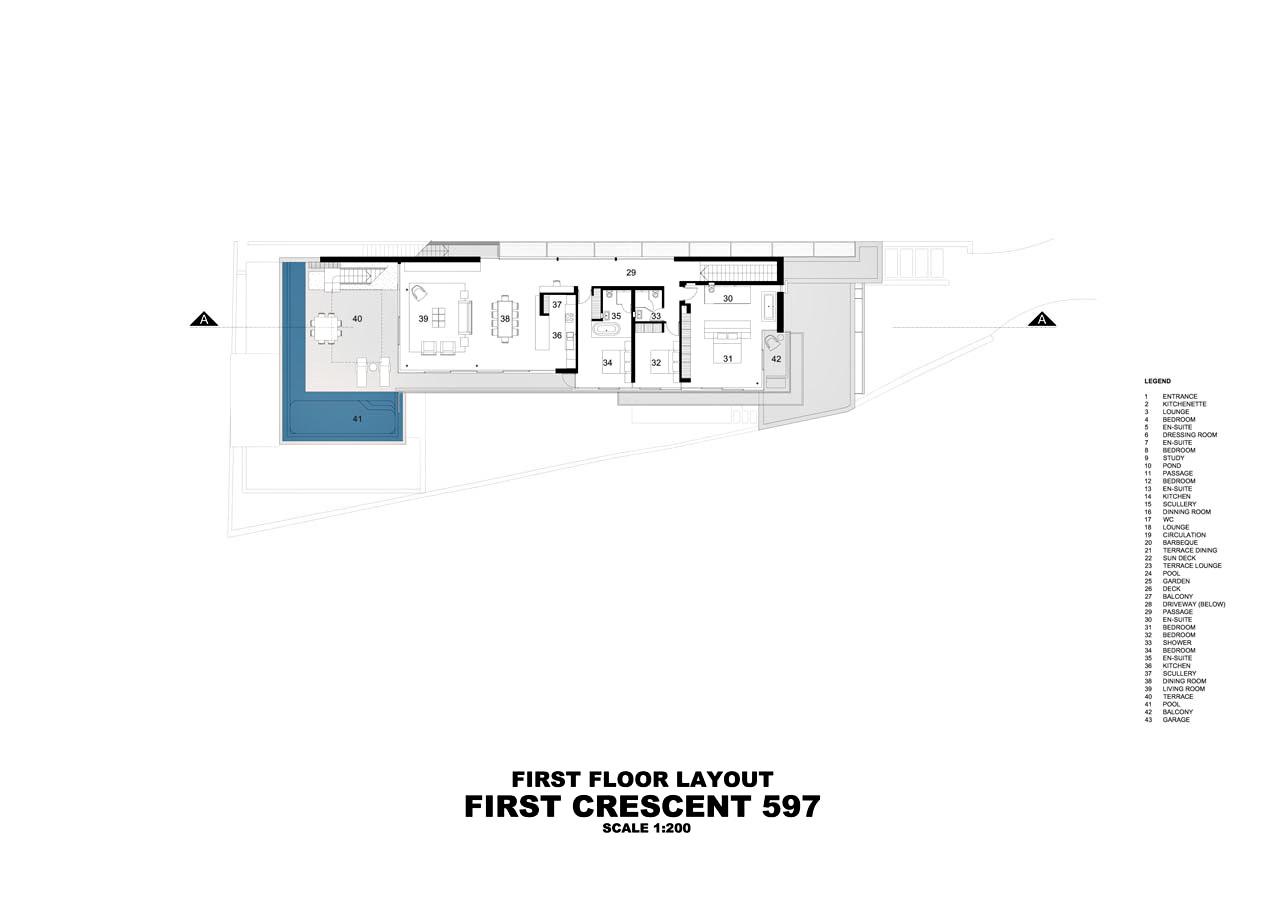 First Floor Plan – Bond Luxury Villa – 8 First Crescent, Camps Bay, South Africa