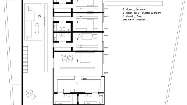 Upper Floor Plan - Ipes House Luxury Residence - São Paulo, Brazil