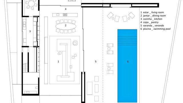 Ground Floor Plan - Ipes House Luxury Residence - São Paulo, Brazil