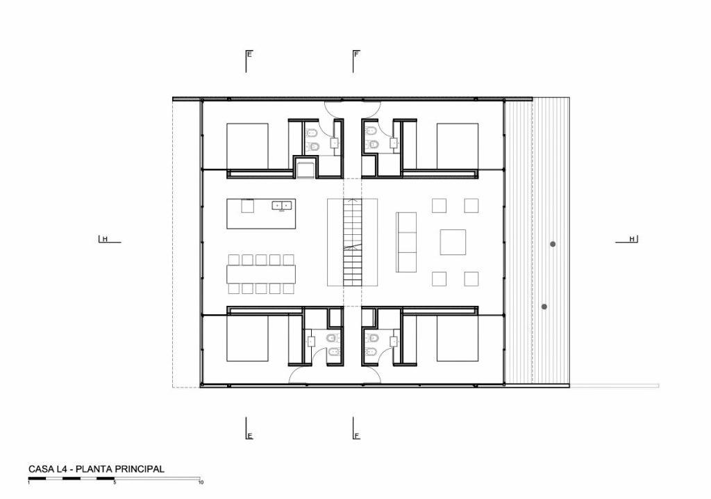 Main Floor Plan - L4 House - Costa Esmeralda, Buenos Aires, Argentina