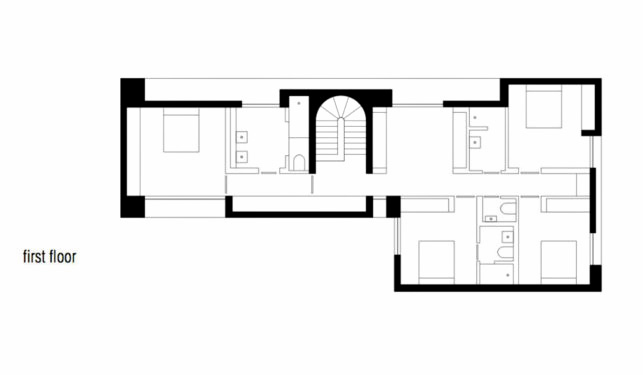 First Floor Plan - Cassell Street Residence - South Yarra, Melbourne, Australia