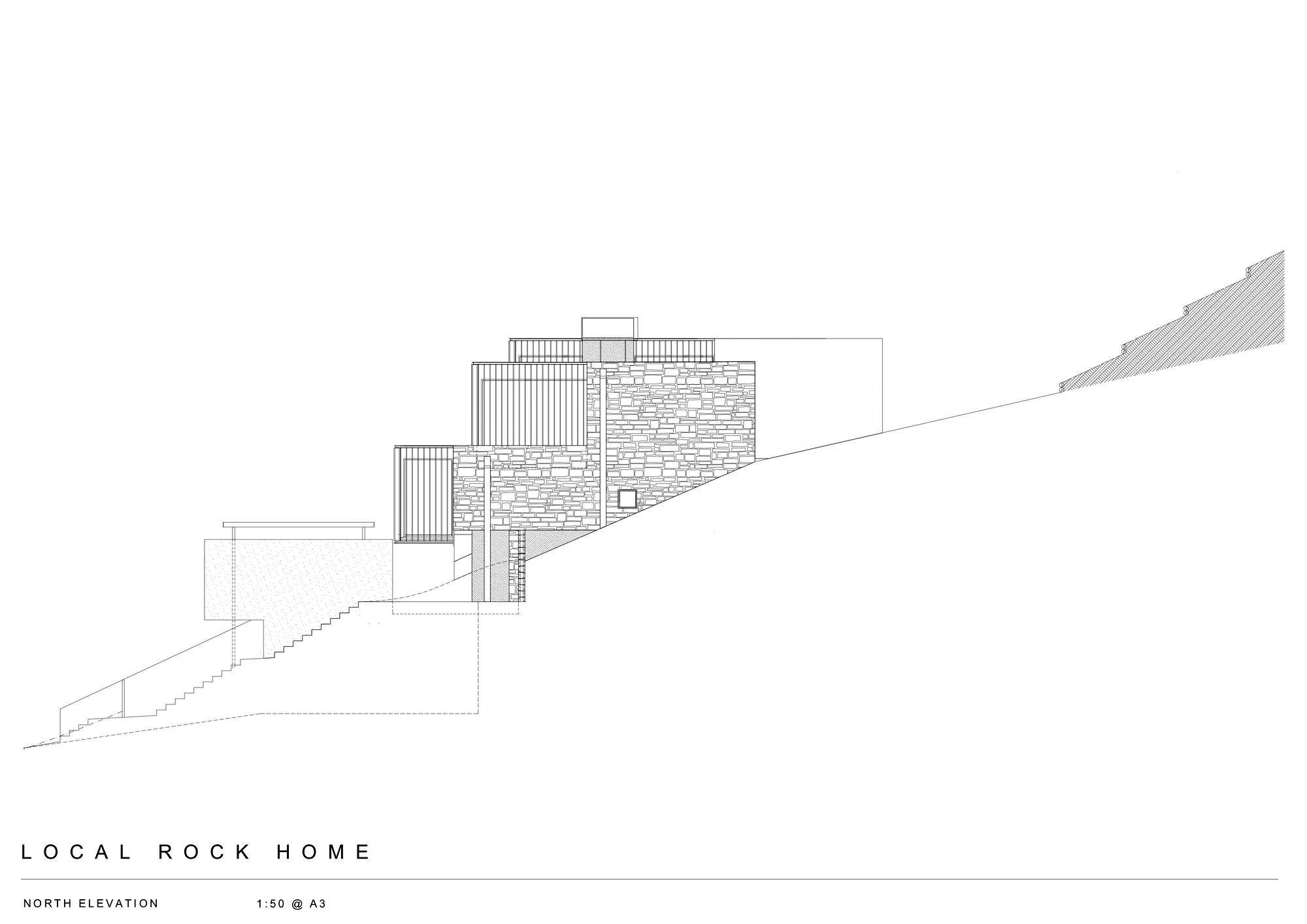 North Elevation – Local Rock House – Waiheke Island, Auckland, New Zealand