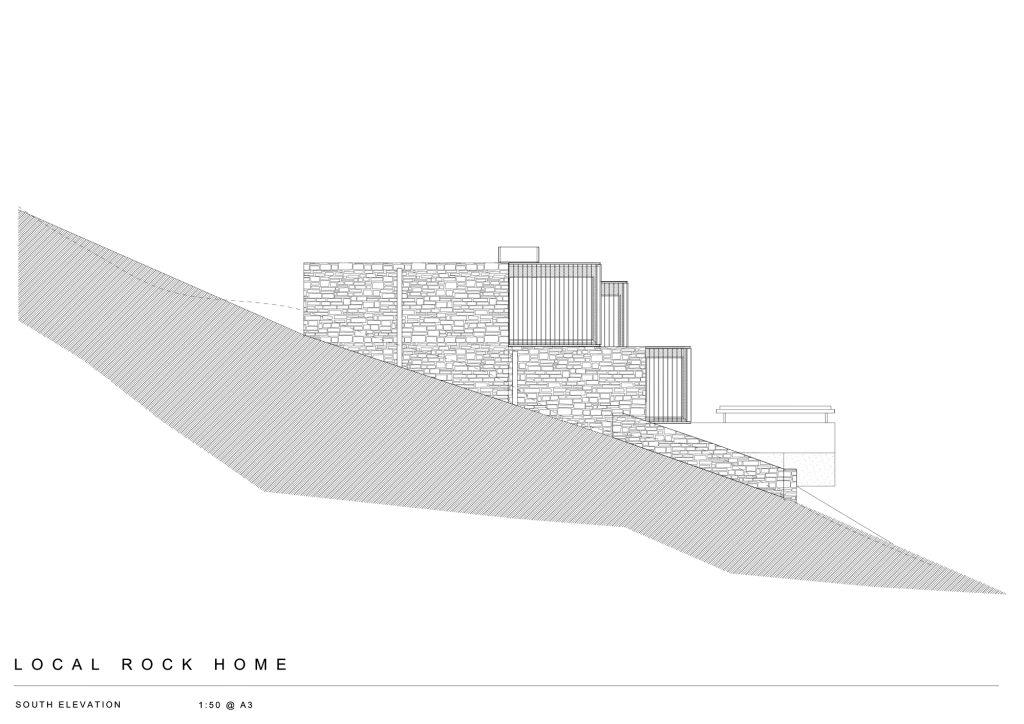 South Elevation - Local Rock House - Waiheke Island, Auckland, New Zealand