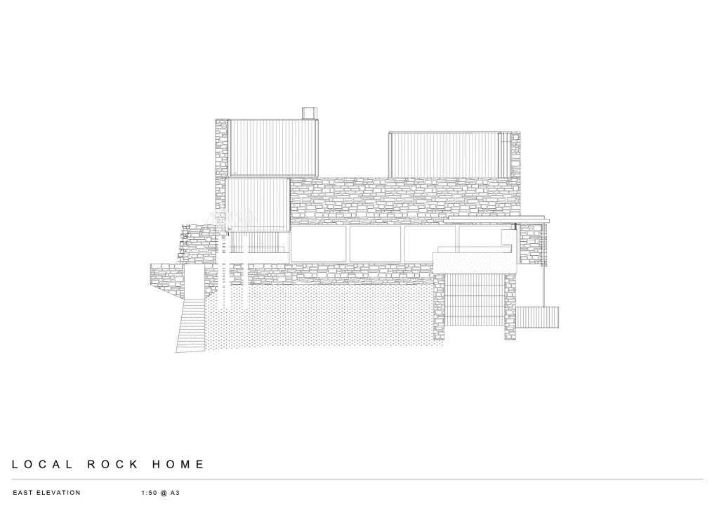 East Elevation - Local Rock House - Waiheke Island, Auckland, New Zealand