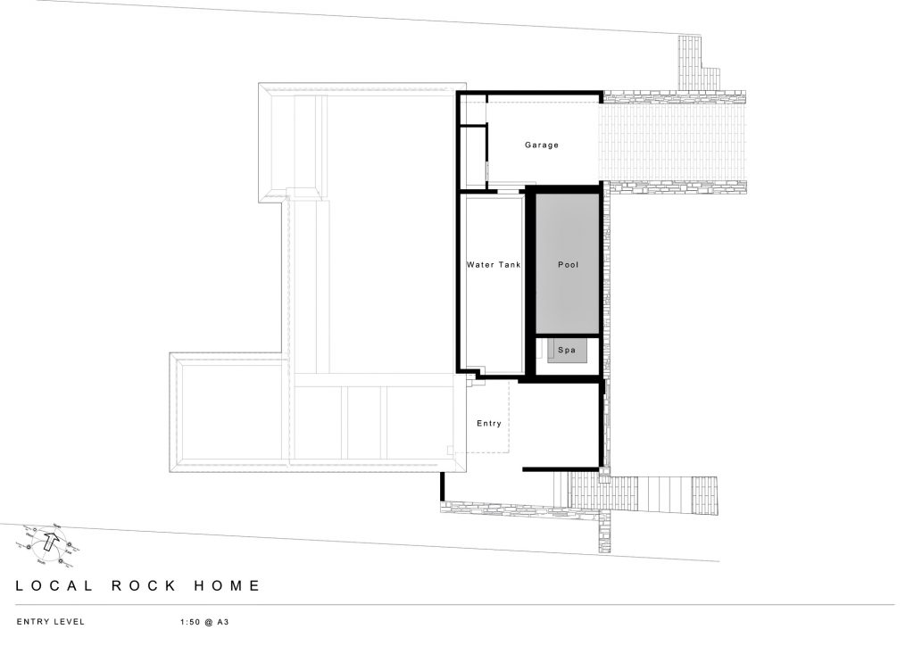 Entry Level Floor Plan - Local Rock House - Waiheke Island, Auckland, New Zealand