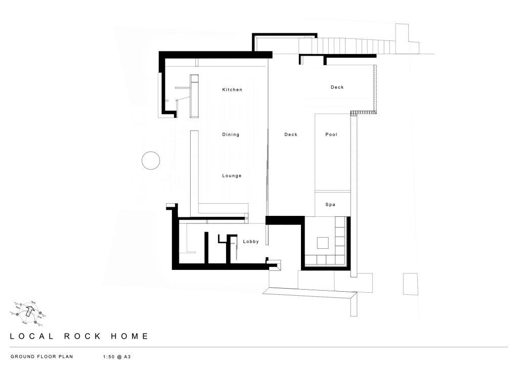 Ground Floor Plan - Local Rock House - Waiheke Island, Auckland, New Zealand