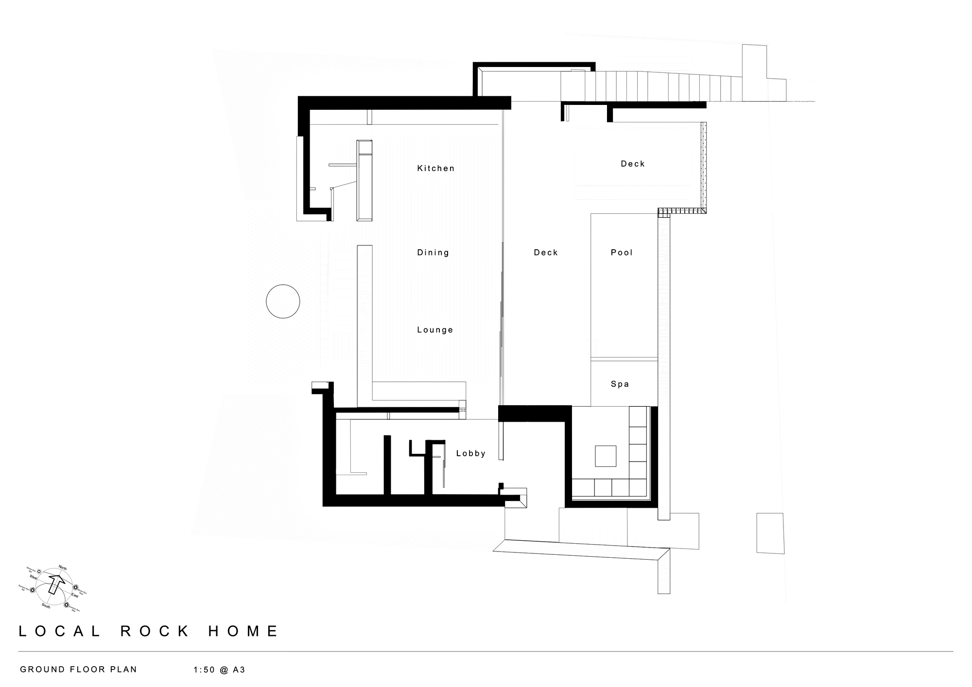 Ground Floor Plan - Local Rock House - Waiheke Island, Auckland, New Zealand