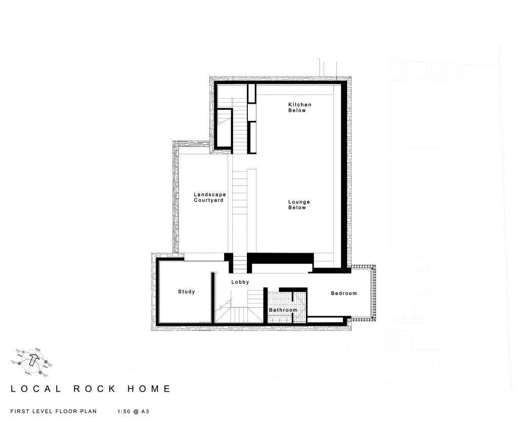 First Level Floor Plan - Local Rock House - Waiheke Island, Auckland, New Zealand