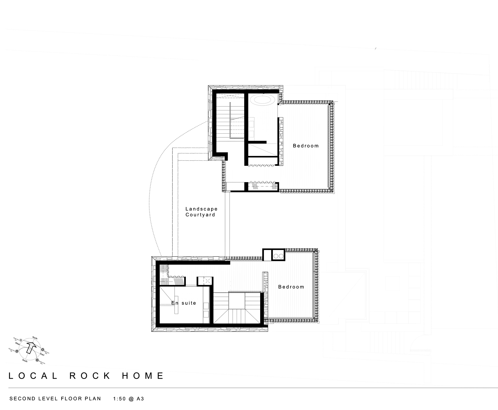 Second Level Floor Plan - Local Rock House - Waiheke Island, Auckland, New Zealand