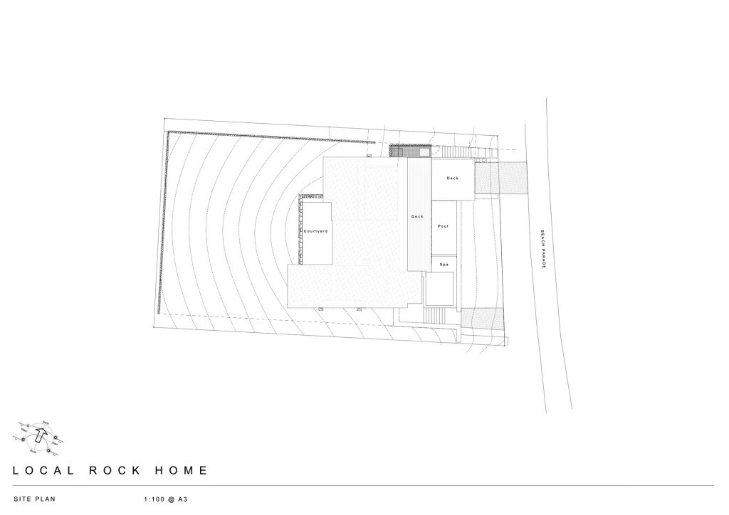 Site Plan - Local Rock House - Waiheke Island, Auckland, New Zealand