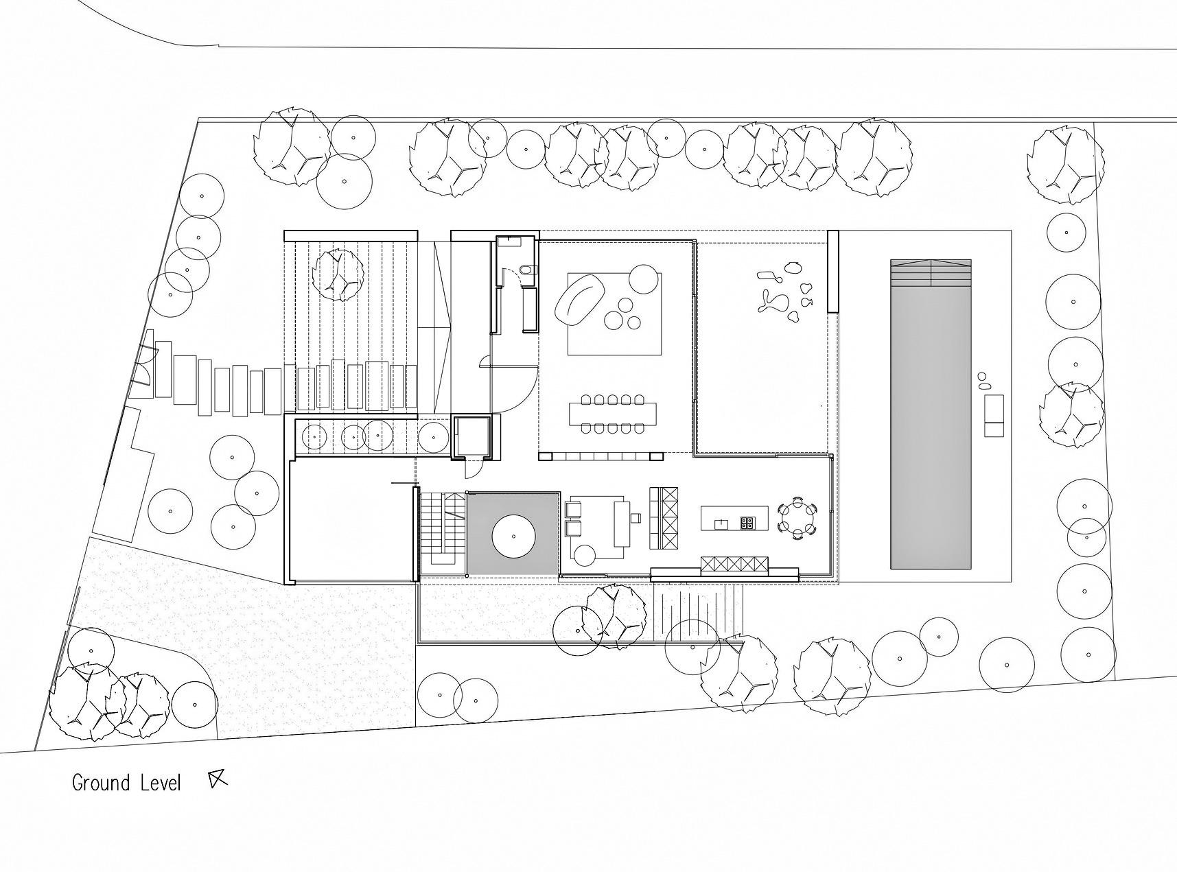 Ground Level Floor Plan - Corten House Luxury Residence - Savyon, Tel Aviv, Israel