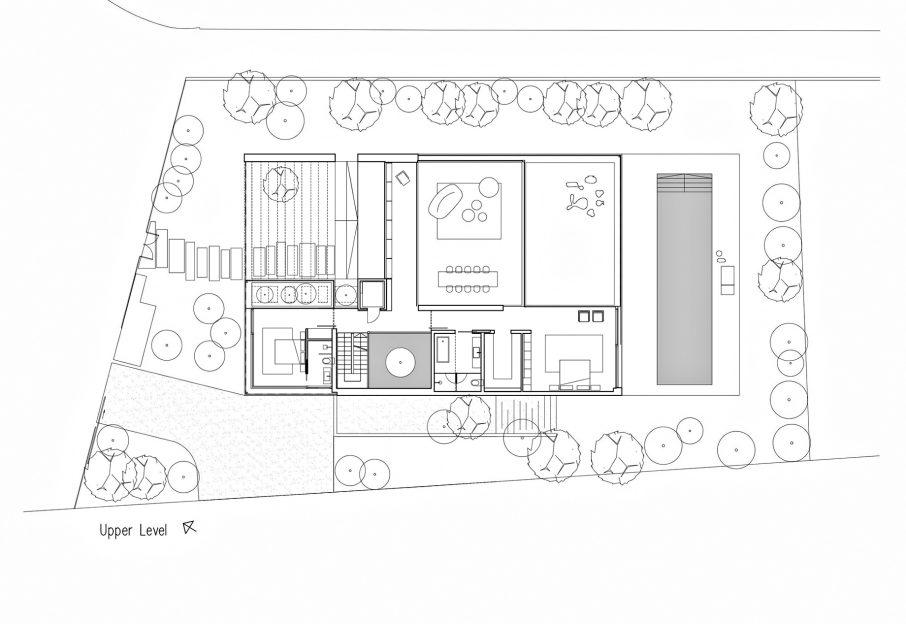 Upper Level Floor Plan - Corten House Luxury Residence - Savyon, Tel Aviv, Israel