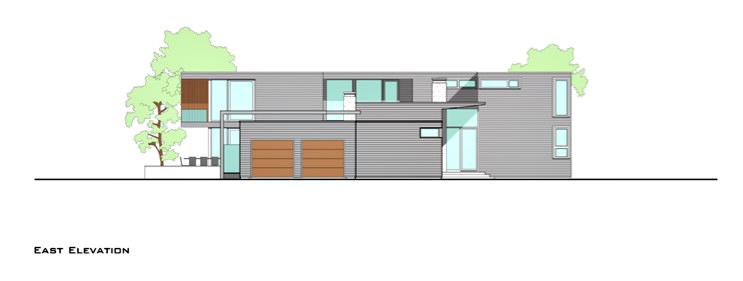 East Elevation - Fieldview Residence - 28 Fieldview Ln, East Hampton, NY, USA