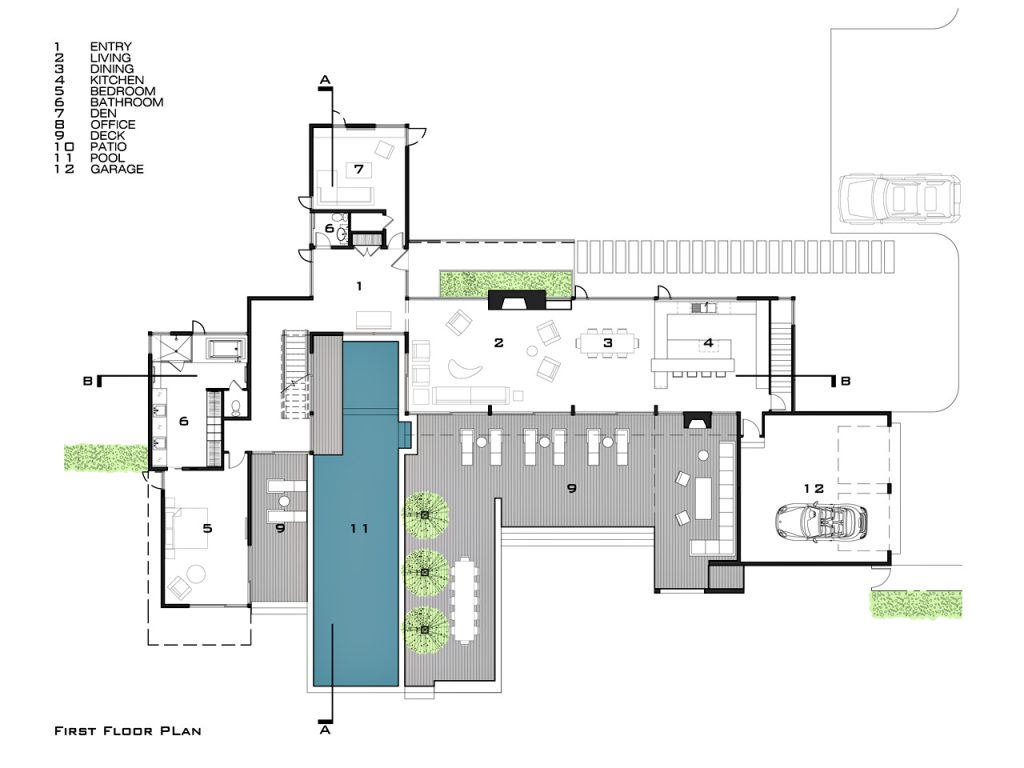 First Floor Plan - Fieldview Residence - 28 Fieldview Ln, East Hampton, NY, USA