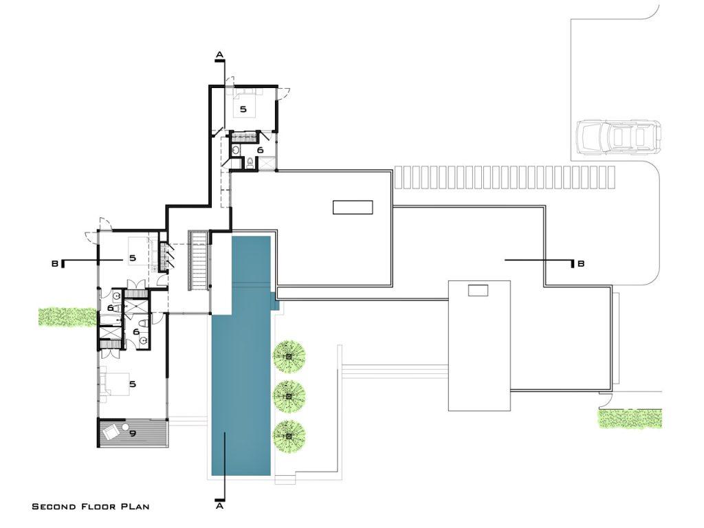 Second Floor Plan - Fieldview Residence - 28 Fieldview Ln, East Hampton, NY, USA