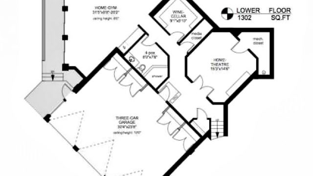 Lower Floor Plan - Armada House Residence - Arbutus Rd, Victoria, BC, Canada