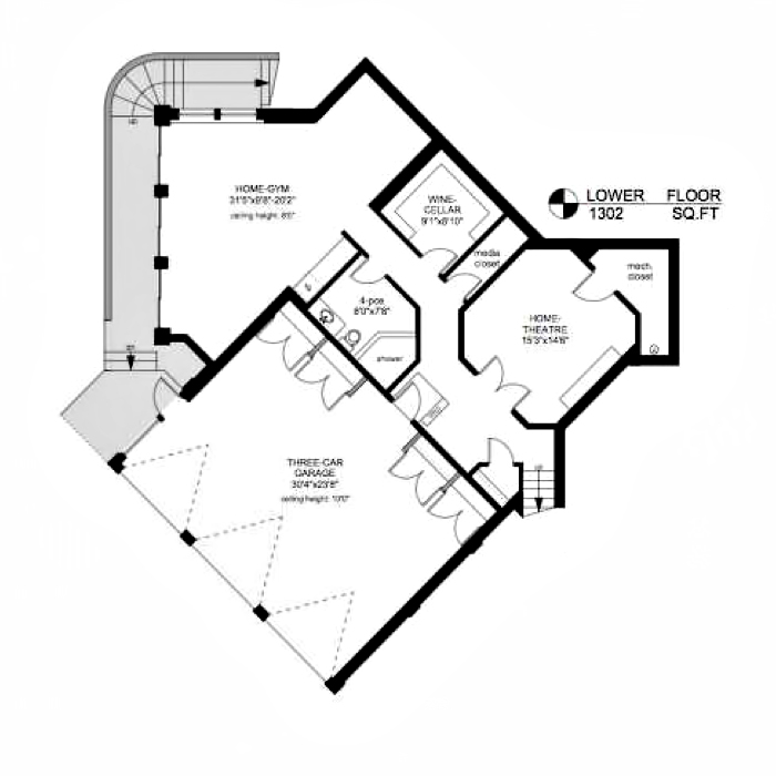 Lower Floor Plan – Armada House Residence – Arbutus Rd, Victoria, BC, Canada