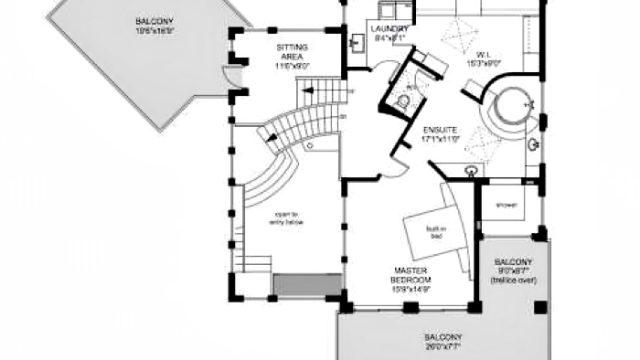 Upper Floor Plan - Armada House Residence - Arbutus Rd, Victoria, BC, Canada