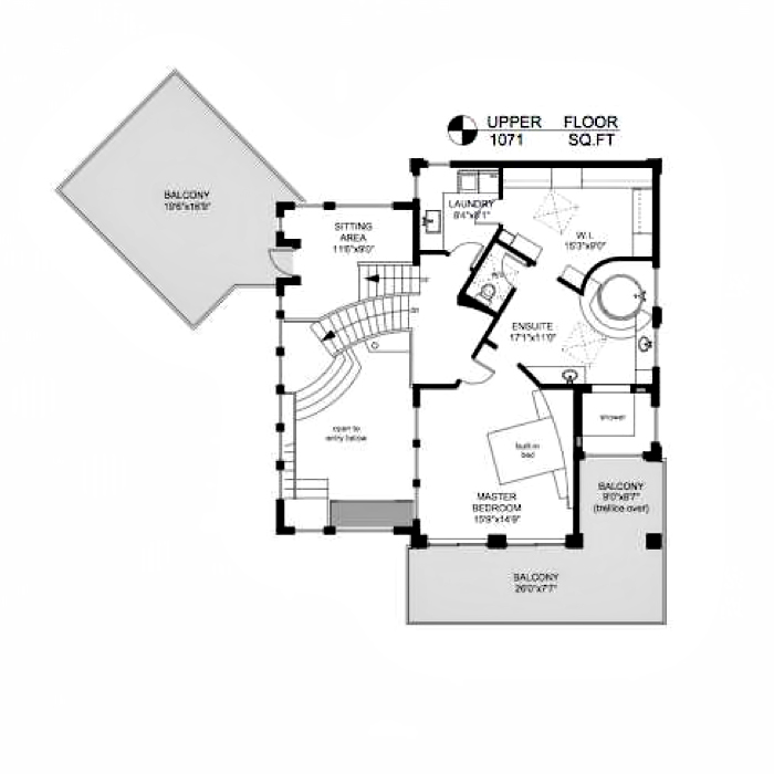 Upper Floor Plan - Armada House Residence - Arbutus Rd, Victoria, BC, Canada
