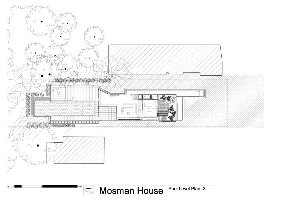 Pool Level Floor Plan - Mosman House Residence - Sydney, New South Wales, Australia