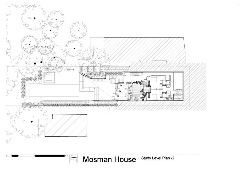 Study Level Floor Plan - Mosman House Residence - Sydney, New South Wales, Australia