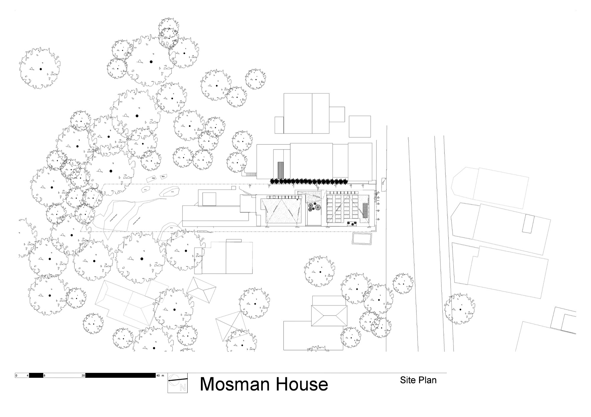 Site Plan - Kitchen Level Floor Plan - Mosman House Residence - Sydney, New South Wales, Australia