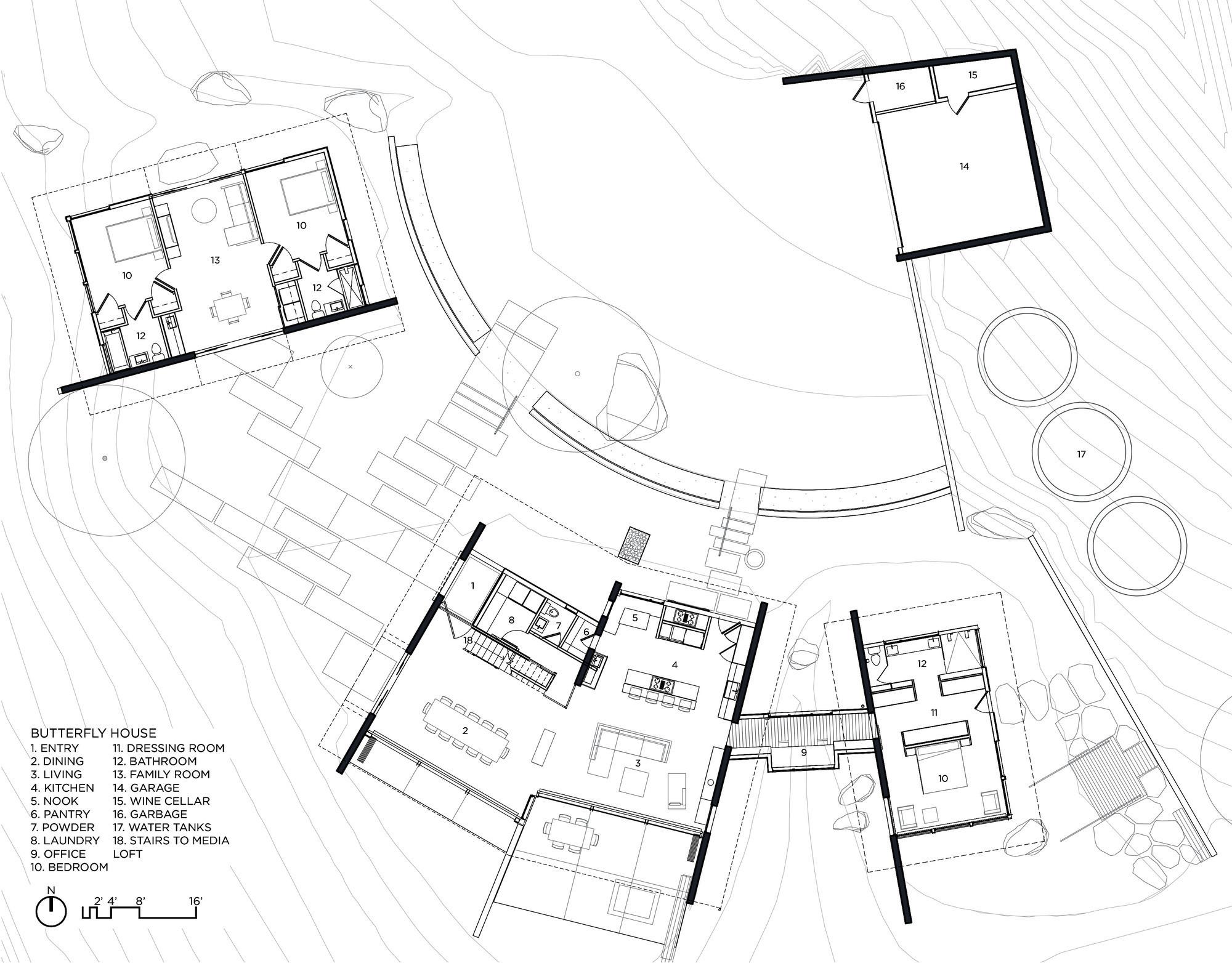 Floor Plans – Butterfly House – Santa Lucia Preserve, Carmel, CA, USA
