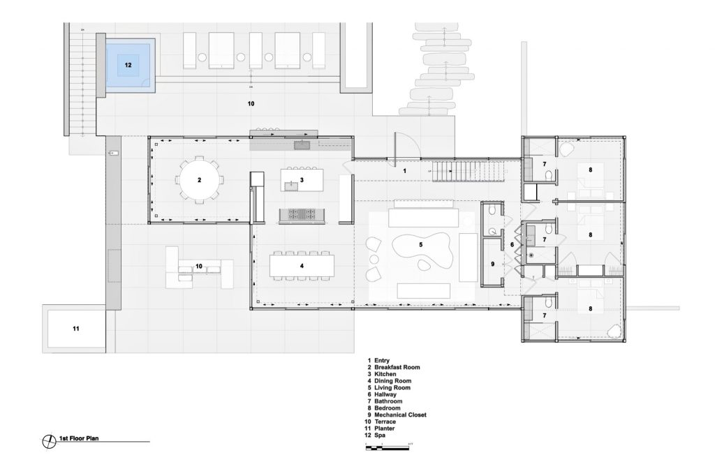 First Floor Plan - Field House Residence - Fairfield Pond Ln, Sagaponack, NY, USA