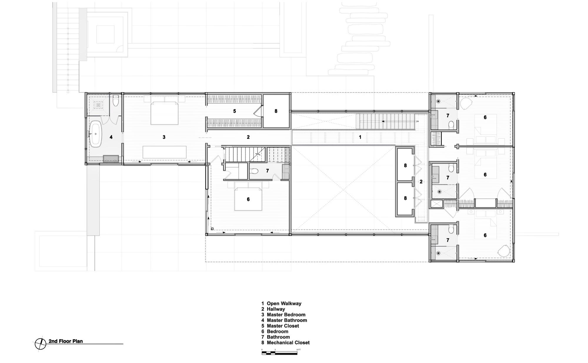 Second Floor Plan - Field House Residence - Fairfield Pond Ln, Sagaponack, NY, USA