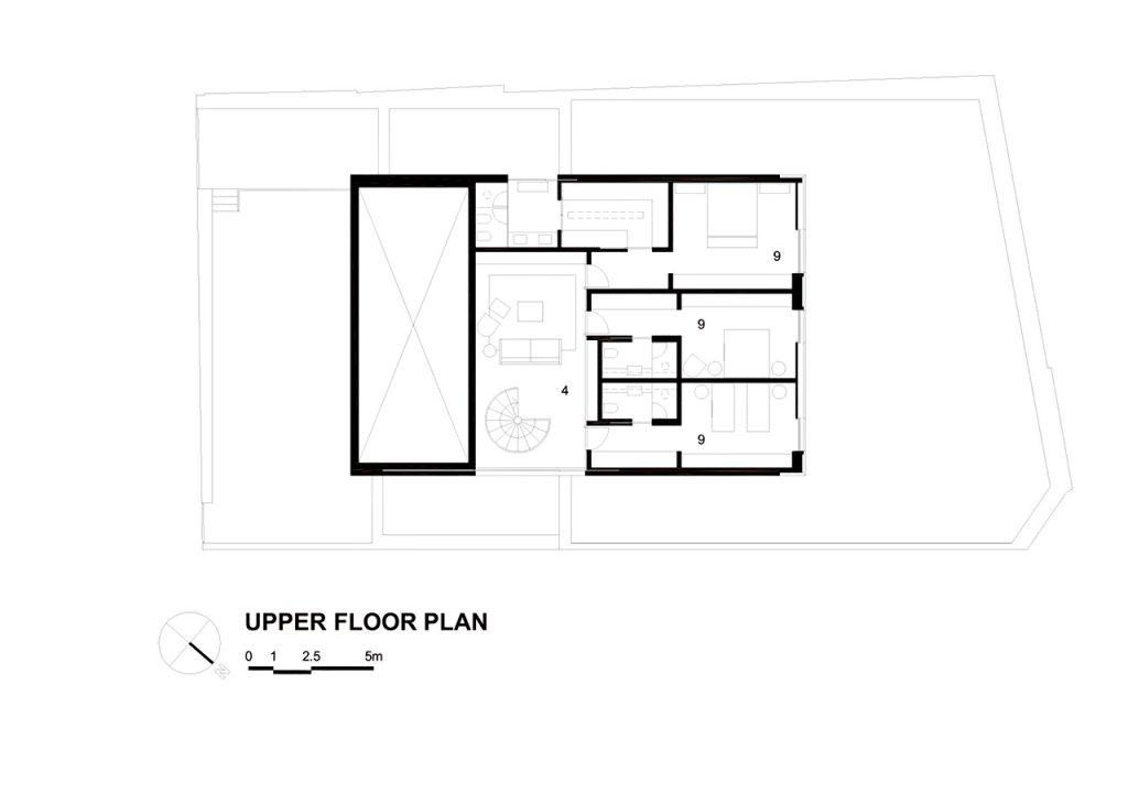 Upper Floor Plan - Cubo House Luxury Residence - Jardins, São Paulo, Brazil